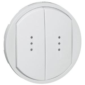 Enjoliveur blanc - Interrupteur double à voyant - Céliane - Legrand