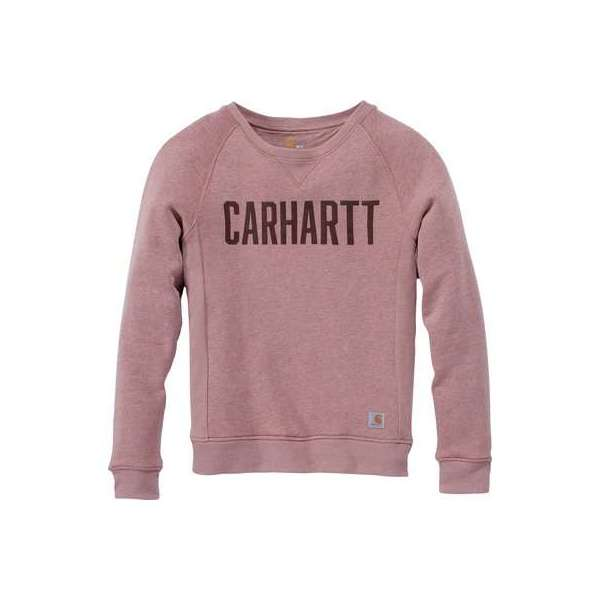 Sweat femme rose col rond logo block - Taille XS - Carhartt