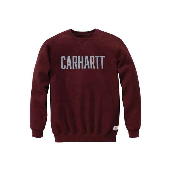 Sweat rouge bordeaux col rond logo block - Taille XXL - Carhartt
