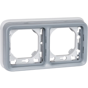 Support plaque grise composable - 2 postes - Plexo - Legrand