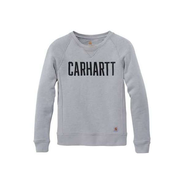 Sweat femme gris col rond logo block - Taille L - Carhartt