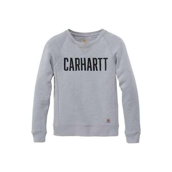 Sweat femme gris col rond logo block - Taille XL - Carhartt