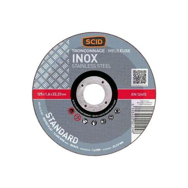 Disque à tronçonner standard moyeu plat - Inox - Ø 125 mm - SCID