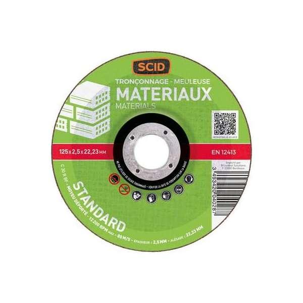 Disque à tronçonner standard - Tous matériaux - Ø 125 mm - SCID