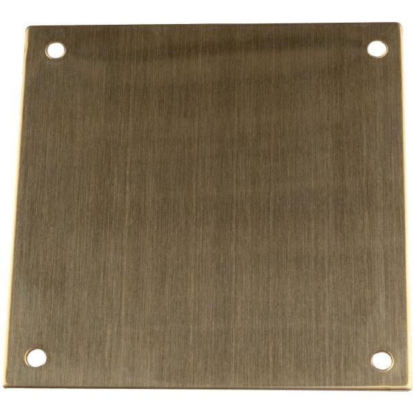 Plaque de propreté laiton - Carré - 65 x 65 mm - Percée - Duval