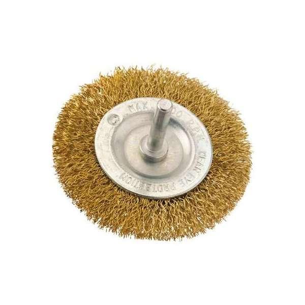 Brosse circulaire acier laitonné ondulé sur tige - Ø 75 mm - SCID