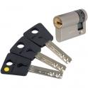 Cylindre 2 entrées varié nickelé - 32,5 x 10 mm - Sytème 7x7 - Mul-T-lock