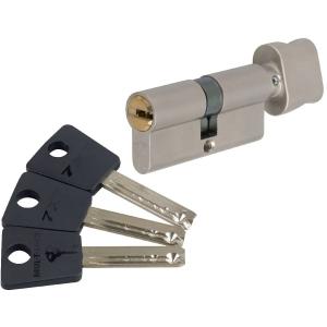 Cylindre à bouton varié nickelé - B30 x 30 mm - Sytème 7x7 - Mul-T-lock