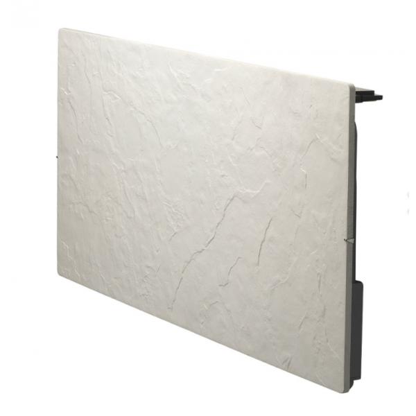 Radiateur à inertie sèche pierre et minéraux - Horizontal - TOUCH SILICIUM - 2000 W - Ardoise blanche - Valderoma