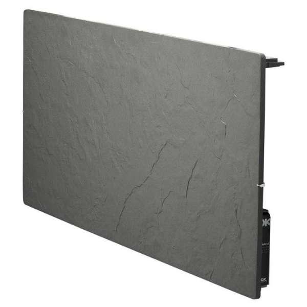 Radiateur à inertie sèche pierre et minéraux - Horizontal - TOUCH SILICIUM - 800 W - Ardoise noire - Valderoma