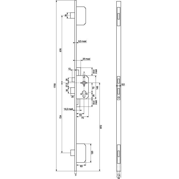 serrure larder 3 points 2040 mm axe 50 mm. Black Bedroom Furniture Sets. Home Design Ideas