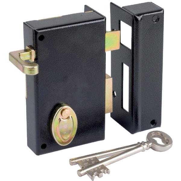 Serrure à gorge en applique noire droite à tirage - Axe à 45 mm - Série 802 - DOM