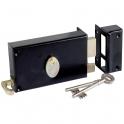 Serrure à gorge en applique noire droite à tirage - Axe à 70 mm - Série 729 - DOM