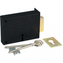 Serrure à gorge en applique noire droite simple - Clé L - Axe à 70 mm - Série 467 - DOM