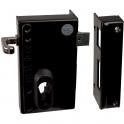 Serrure en applique noire droite à Tirage - Clé I - Axe à 45 mm - Série ND10 - DOM